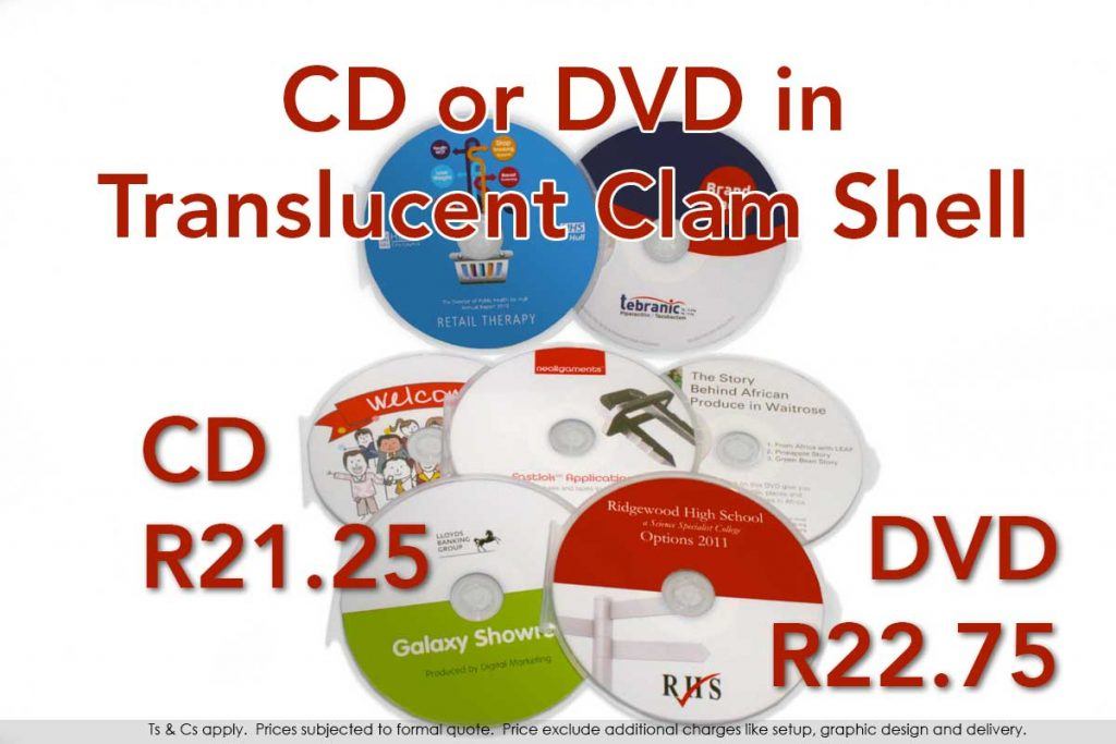 CD or DVD, printed and duplicated in a durable plastic clam shell