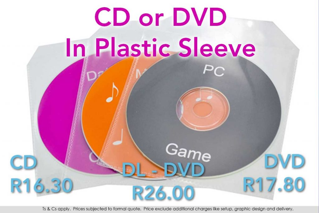 CD or DVD, printed and duplicated in a variety of plastic sleeves