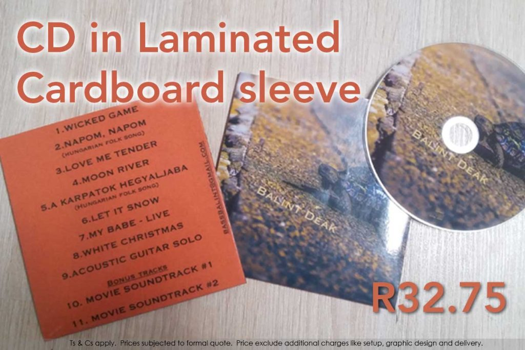 CD in laminated, high quality printed sleeve.