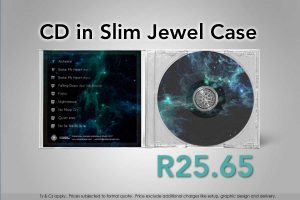 CD, printed and duplicated in slim jewel case with double sided paper inlay and cellophane wrap, available in clear and black