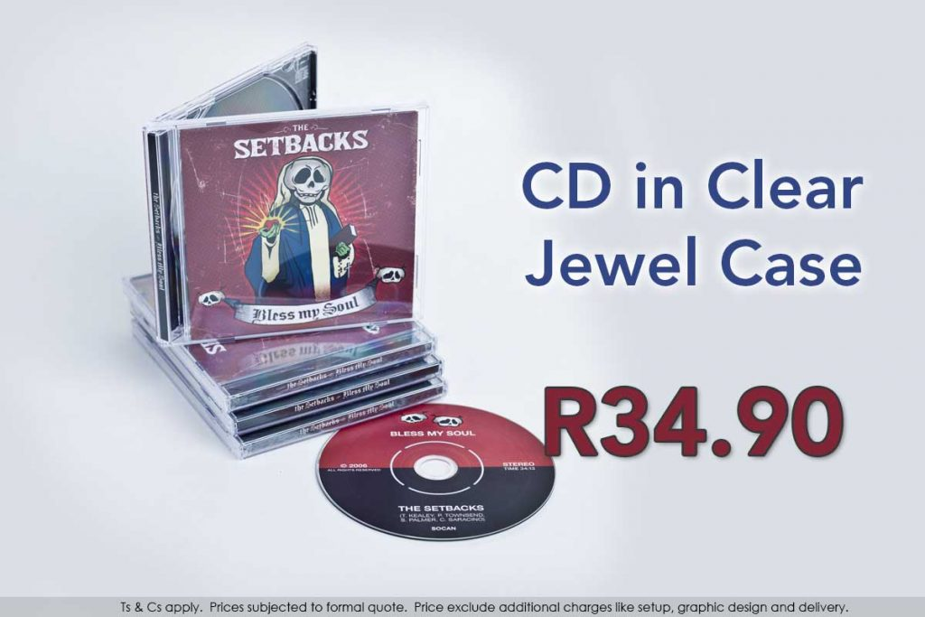 CD, printed and duplicated in clear jewel case paper inlays.