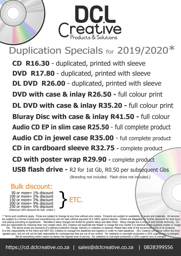 Ongoing specials for 2019-2020.