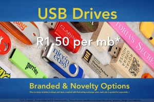 USB drives in a variety of sizes, shapes & branding option